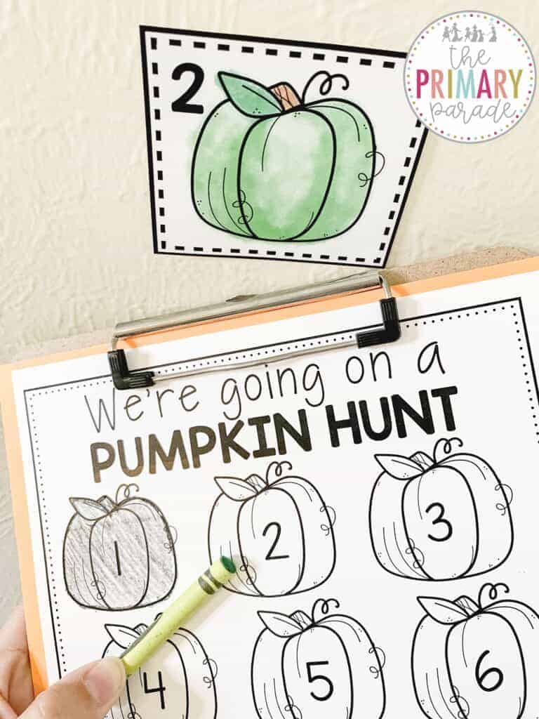going on a bear hunt by coloring pumpkins