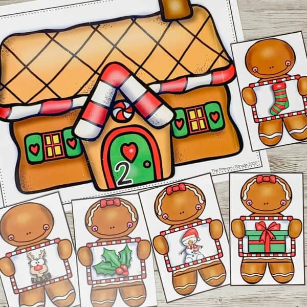 Christmas activity to practice syllables with gingerbread men