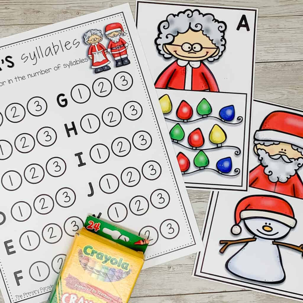 Kindergarten write the room activity to practice syllables this Christmas