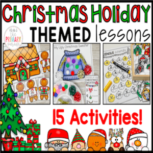 Preschool Christmas activities to practice math and reading in Kindergarten and preschool