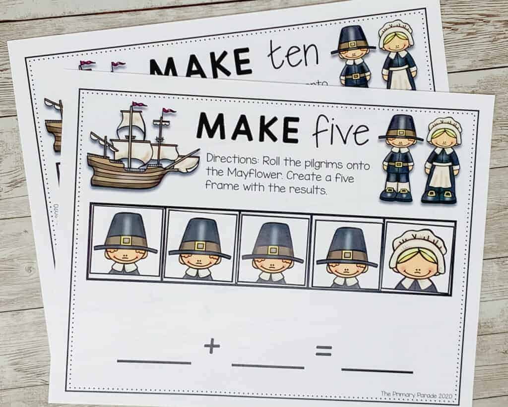 preschool math activities and math worksheets to use in a preschool and kindergarten classroom for addition to 5