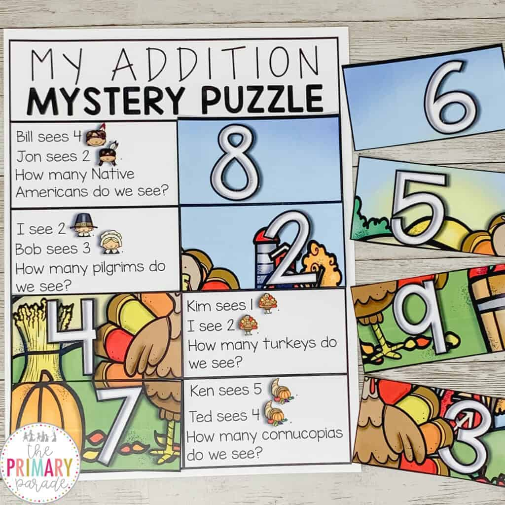 Free addition math game for kids. This mystery math puzzle is a fun Thanksgiving activity to do near turkey day!