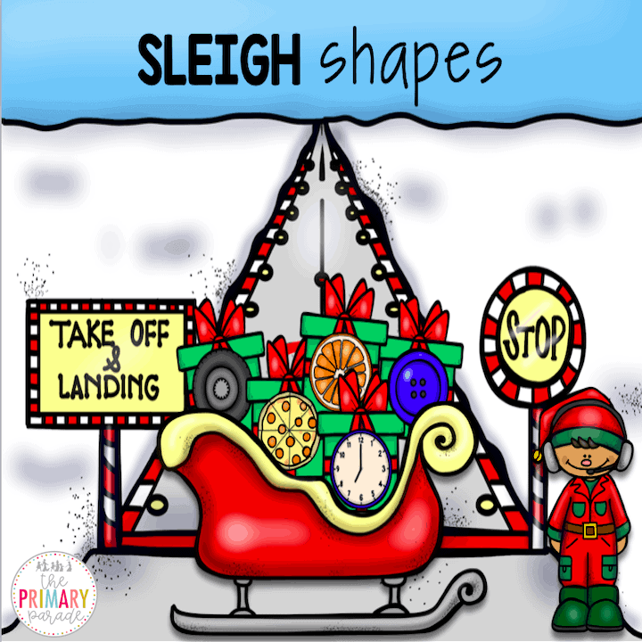 Preschool shape activities for Christmas. Match shaped gifts to the right shape sleigh.