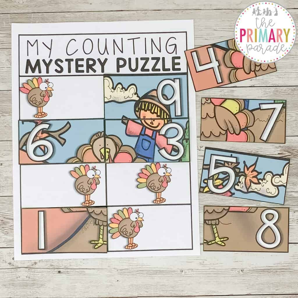 free thanksgiving activities for kids counting puzzle