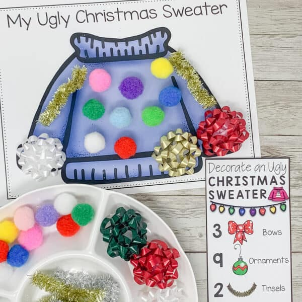 ugly Christmas sweater Christmas activity for counting