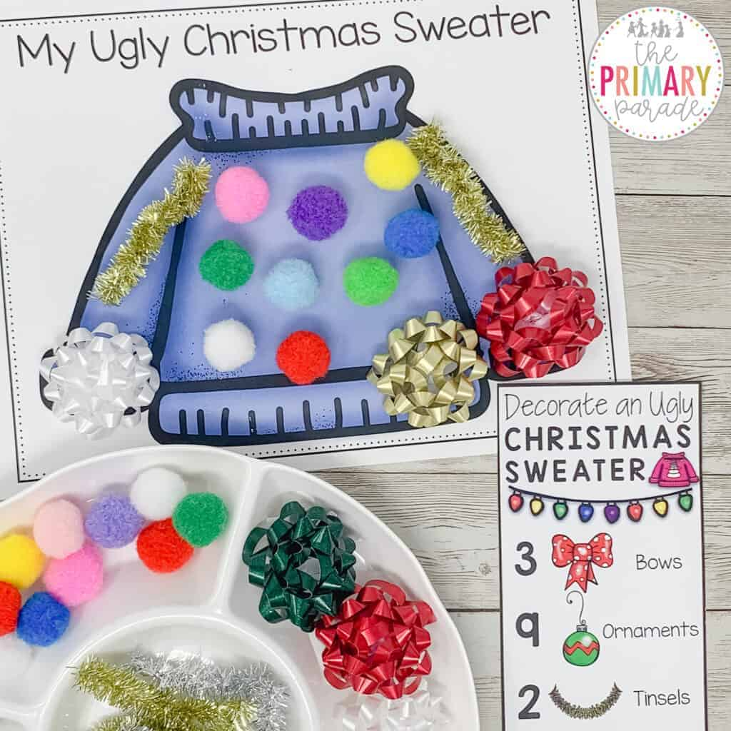 ugly Christmas sweater for kids. Decorate your own ugly Christmas sweater with this fun counting activity