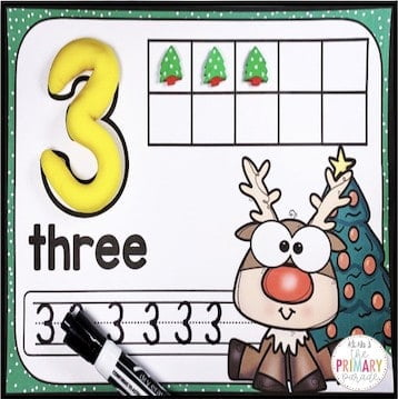 Christmas fine motor number mats to practice numbers, ten frames, handwriting, and fine motor.