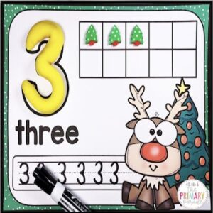 christmas number mats to practice counting, ten frames, handwriting, and fine motor skills with preschoolers