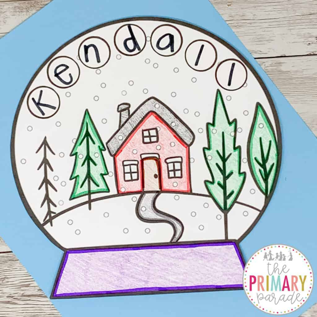 January name crafts for kids with a snow globe