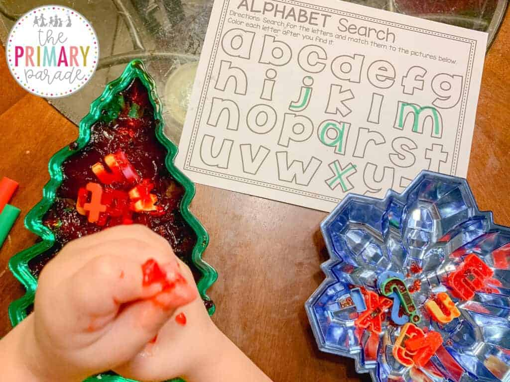 Christmas or winter sensory bin and letter match activity