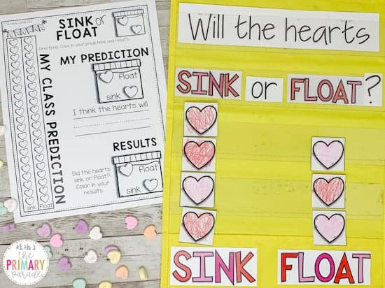 conversation heart graphing sink or float activity for valentines day