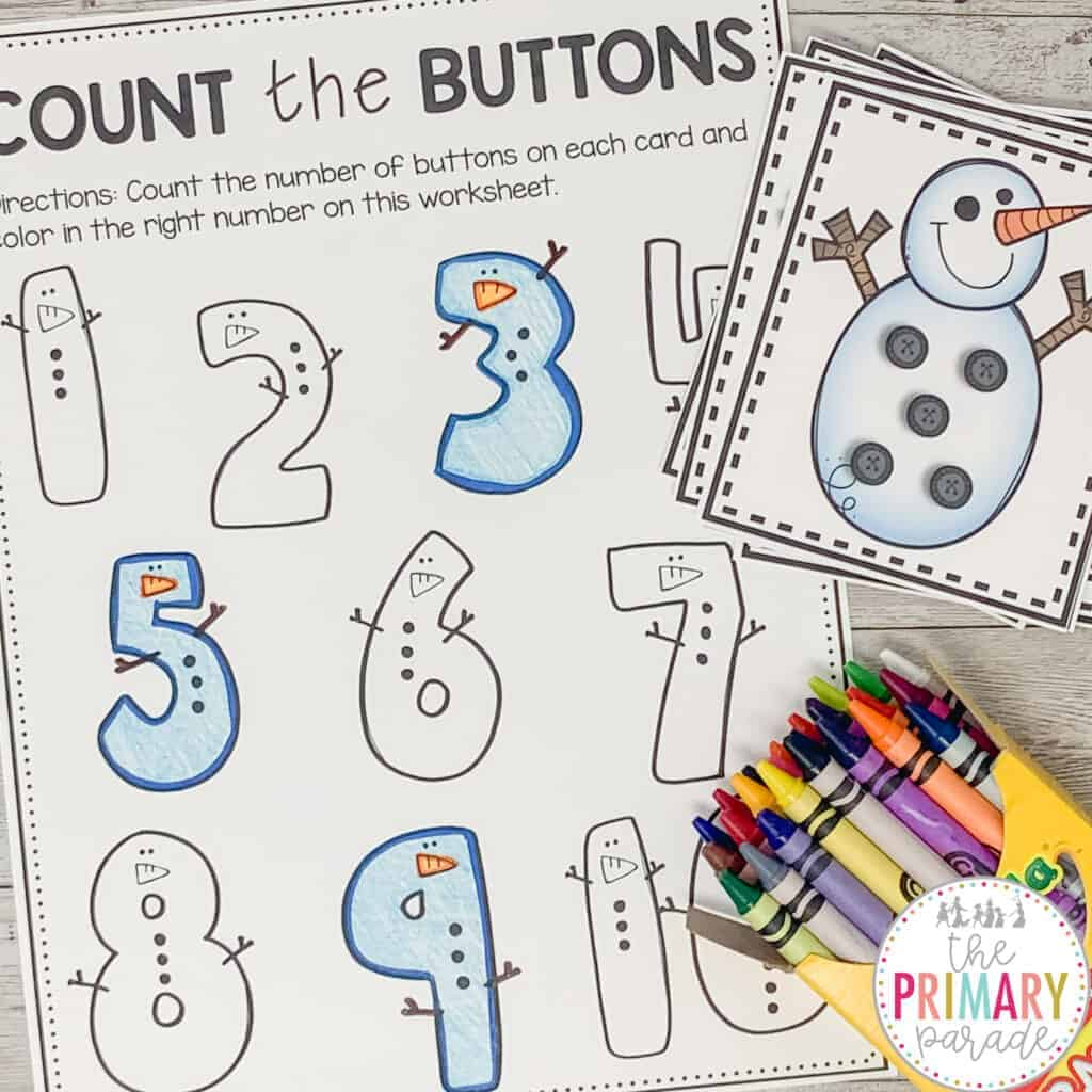 winter activity for kids to do this January in a write the room snow theme center | Fun winter counting activities
