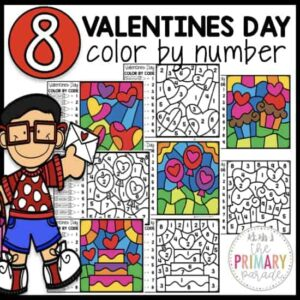 Valentines Day color by number