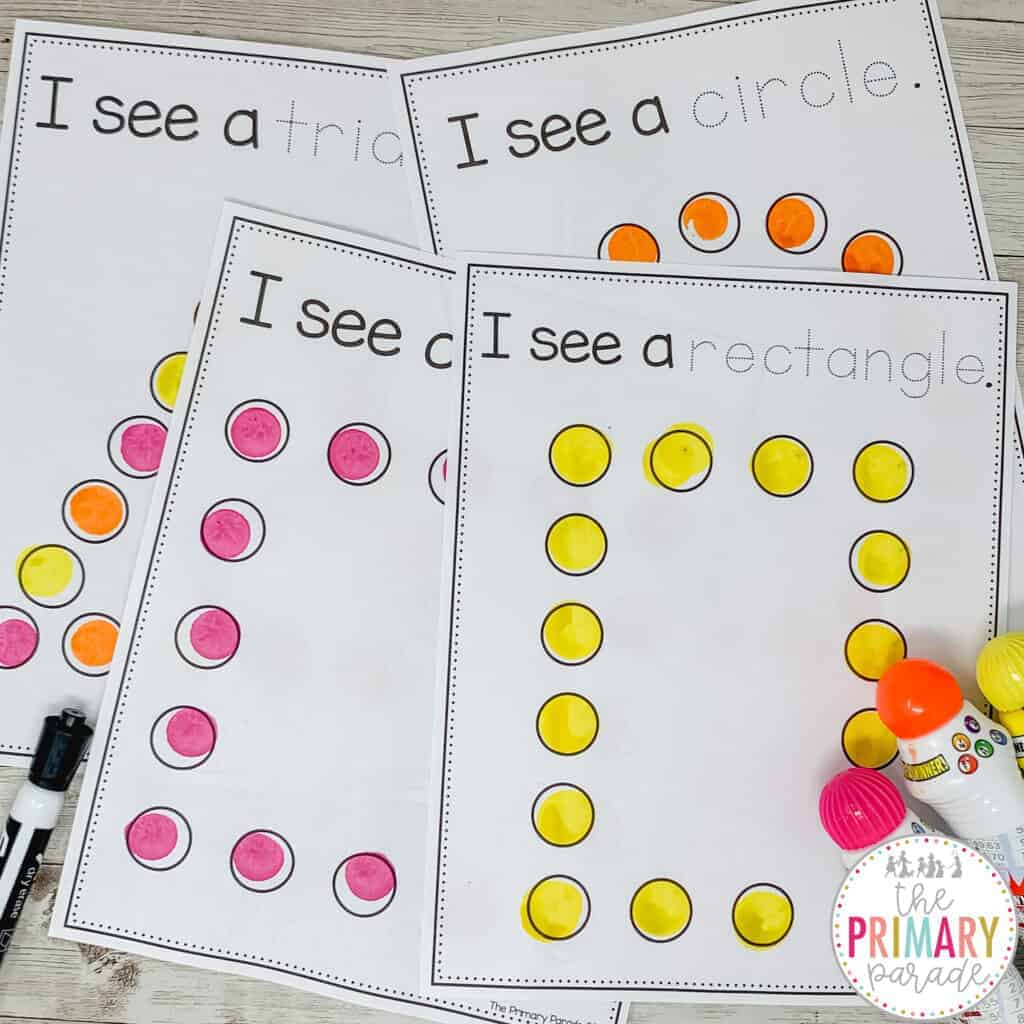 Dot marker activities and printables to teach your toddler shapes.