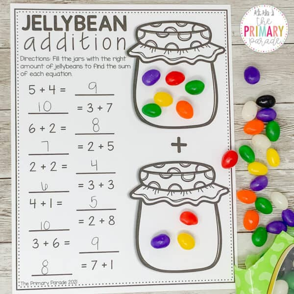 jelly bean math activity for addition