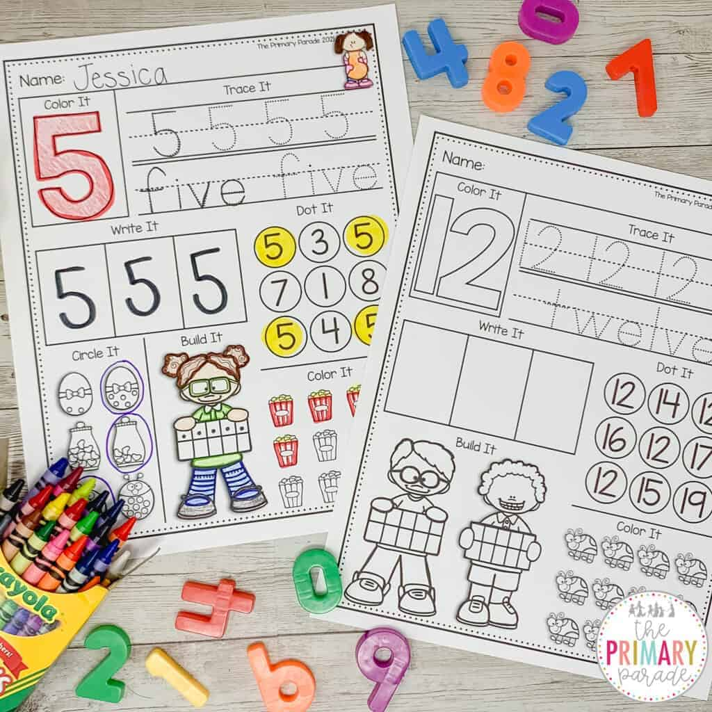 number writing practice worksheets for teaching numbers 1-20