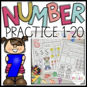 Number writing practice pages for tracing and learning numbers