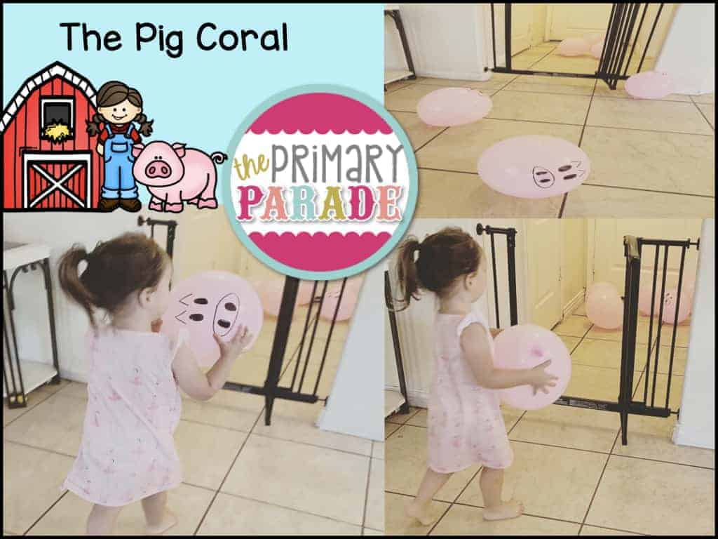Preschool farm activities coral pigs and sheep balloons into their pins