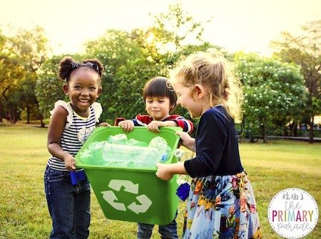earth day activities for kids to learn to recycle and take care of our Earth in a preschool spring theme