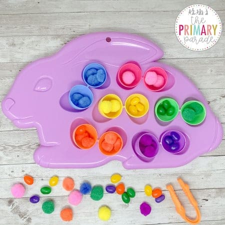Easter activities for toddlers to sort by color