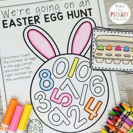 Easter math activity to practice counting and identifying numbers