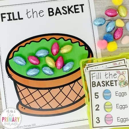 Easter counting activity. Fill the Easter basket with eggs in a fun Easter game.