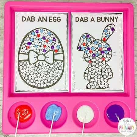 easter fine motor activities with q tip painting