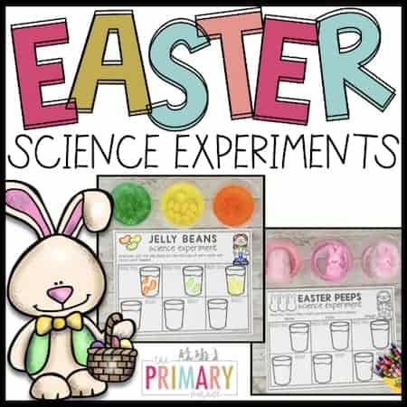 easter science experiments with Peeps and Jelly Beans for kids to do in a preschool spring theme