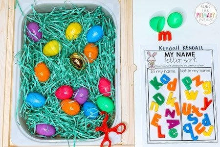 Easy Easter sensory bin to sort letters in your name