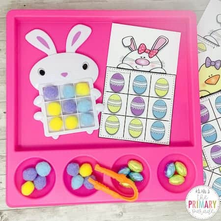 Easter tic tac toe fine motor activity with pom poms