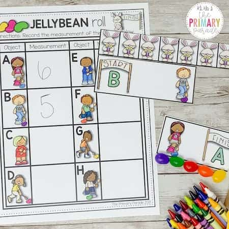 Jelly Bean math activity to practice measuring with kids.
