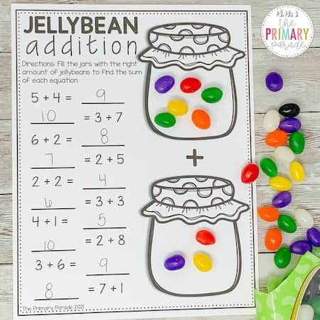 Easter math activity to teach addition with jelly beans