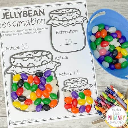 Easter math activity to teach estimation with jelly beans
