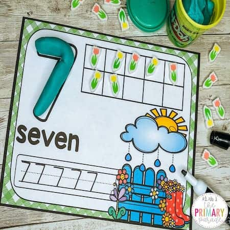 preschool spring activities to practice numbers in a plant theme