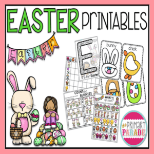 Preschool Easter worksheets and printables to teach math, literacy and fine motor skills in an Easter theme.