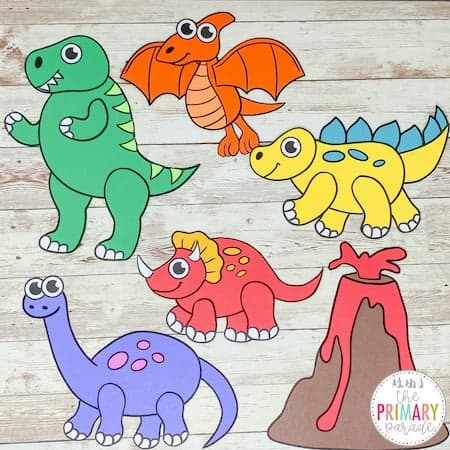 dinosaur crafts and paleontologist crafts for kids in preschool to do in a prehistoric dinosaur theme