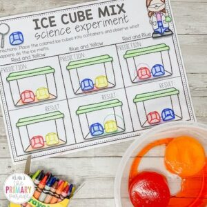 Color mixing activity melting colored ice cubes. Fun way to teach colors.