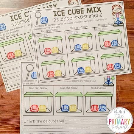 Color mixing activity with colored ice cubes
