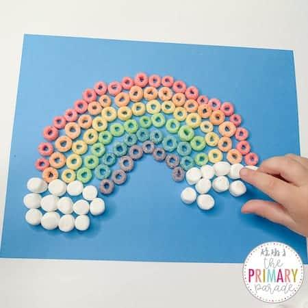 rainbow snack craft for kids to do on St Patricks Day