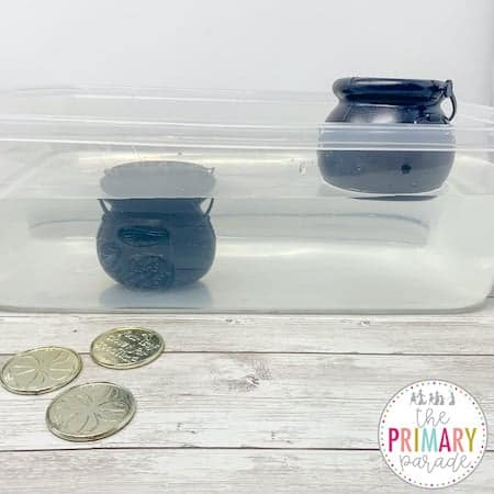 St Patricks Day sink or float experiment and STEM activity with pennies and water.