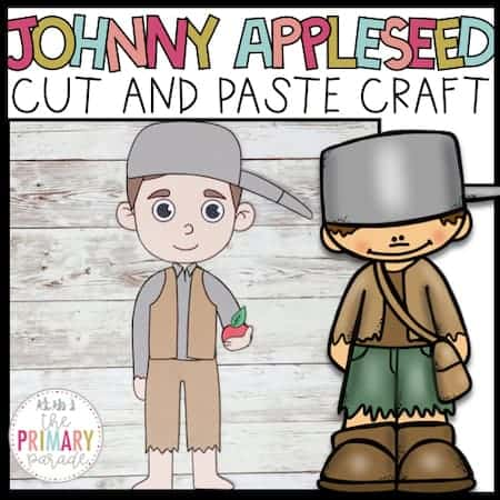 Johnny appleseed craft for kids to cut and paste during a fun apple theme this fall.