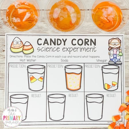 Candy Corn science experiment for Halloween