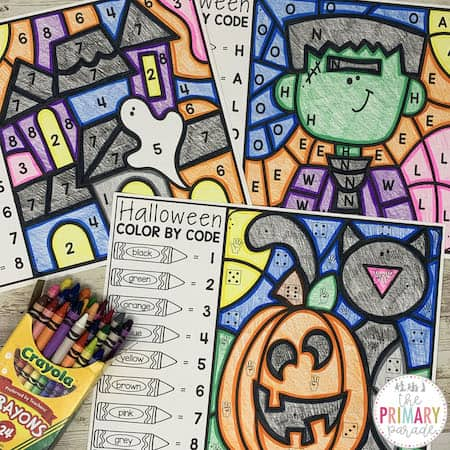 Free Halloween color by number printable
