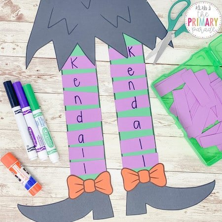 This witch name craft is a cute way to teach your childs name this Halloween
